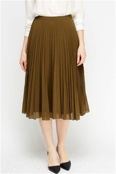 olive pleated midi skirt just 163 5