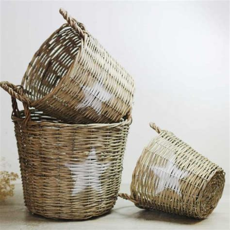cestas decoracion cesta de mimbre estrella una boda original