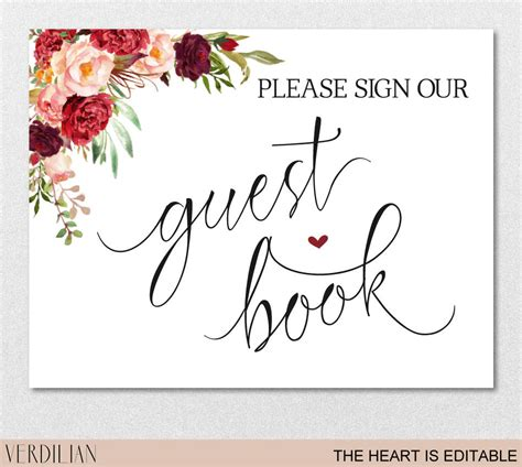 Guest Book Sign Printable Template Please Sign Our Guest Book Etsy Sign Our Guest Book Template