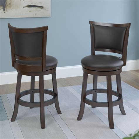 Counter Height Swivel Bar Stool Corliving Woodgrove 25 In Brown Wood Counter Height Swivel Bonded Leather Seat Bar Stool Set