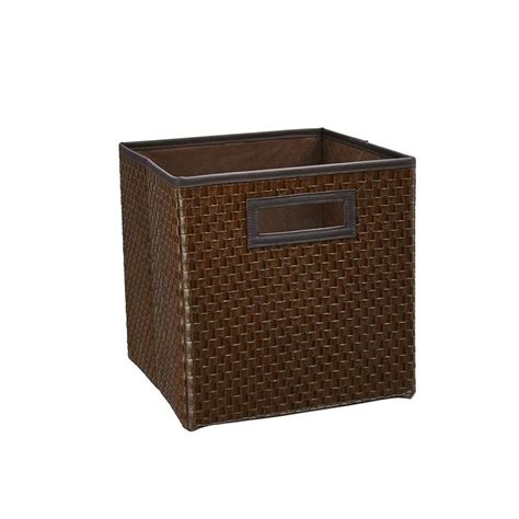 Faux Leather Storage Drawers by Closetmaid 10 5 In X 11 In X 10 5 In Brown Faux Leather