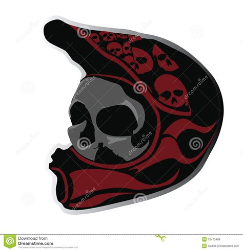 angry skull in the bike helmet stock vector image 12473489