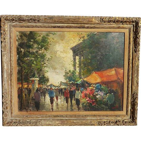 Dg Canvas Shopper by Impressionist Painting Signed Carel