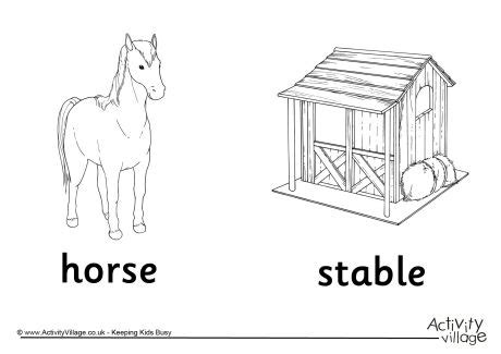 coloring pages of horse stable horse and stable colouring page