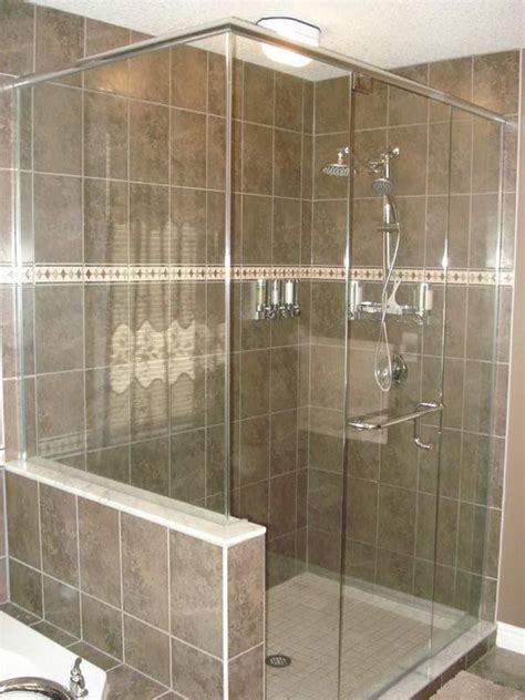 glass shower with half wall bathrooms