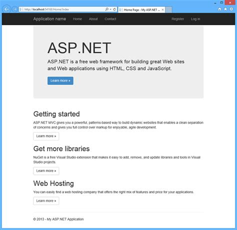 creating asp net web projects in visual studio 2013