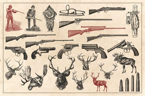 printable hunting journal 150 vintage hunting and fishing vectors with png files