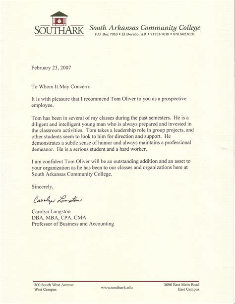 Letter Of Recommendation Doctor professional references tom oliver cv