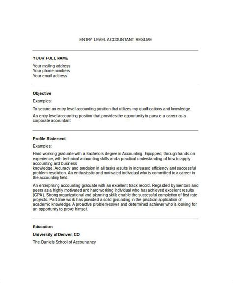 Entry Level Accounting Resume by Generic Resume Template 28 Free Word Pdf Documents