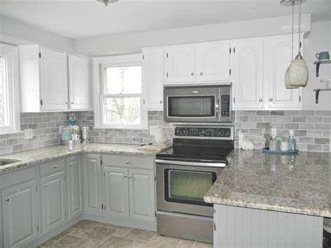 kitchen renovations using gray and white our oak kitchen makeover gray subway tiles white cabinets and subway tiles