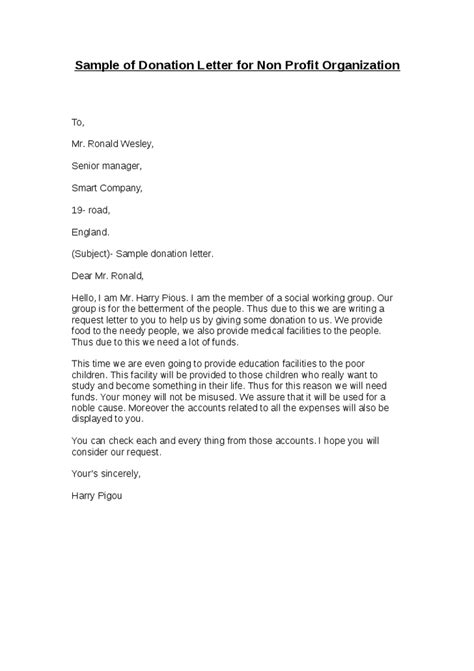 Donation Letter Non Profit Sle Of Donation Letter For Non Profit Organization Hashdoc