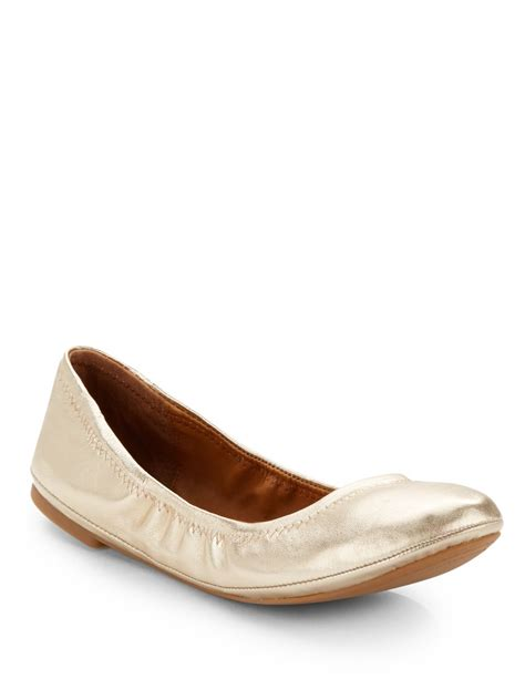 gold shoes flats lucky brand elysia metallic leather ballet flats in gold