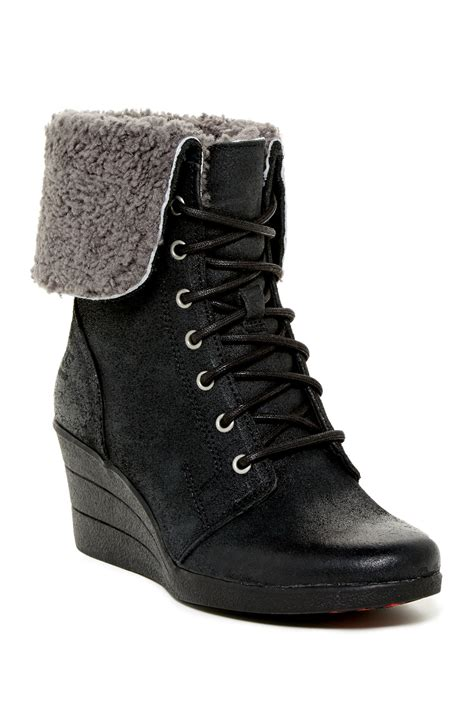 ugg australia zea shearling wedge lace up boot