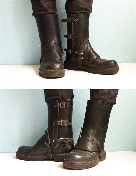 black leather army spats gaiters steunk motorcycle 70s how to dress for succes or the