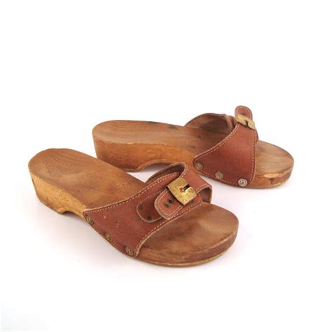 dr scholls wood sandals dr scholls sandals vintage 1980s leather wood exercise