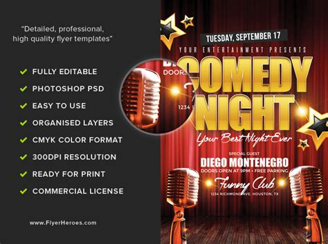 Comedy Club Flyer Templates