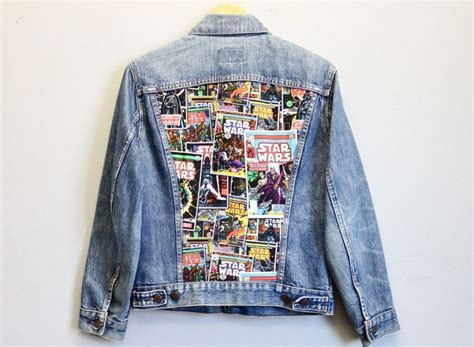 Bbb New Vintage Denim Jacket Intl vintage denim jacket featuring a wars print and a stud adorned collar size m l care