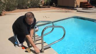 Installing Handrail How To Install In Ground Pool Ladders Pools Amp Spas Youtube
