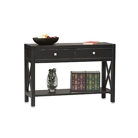 bed bath and beyond sofa table anna console table in black bed bath beyond