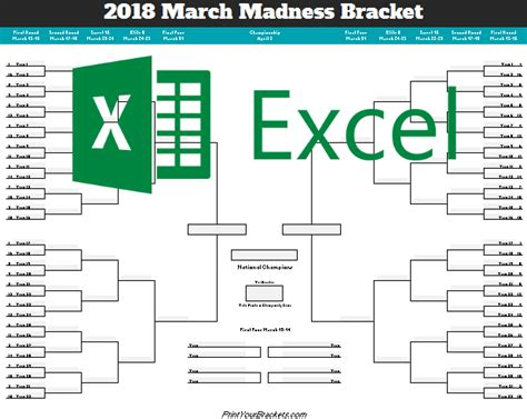 excel template ncaa march madness bracket 2018