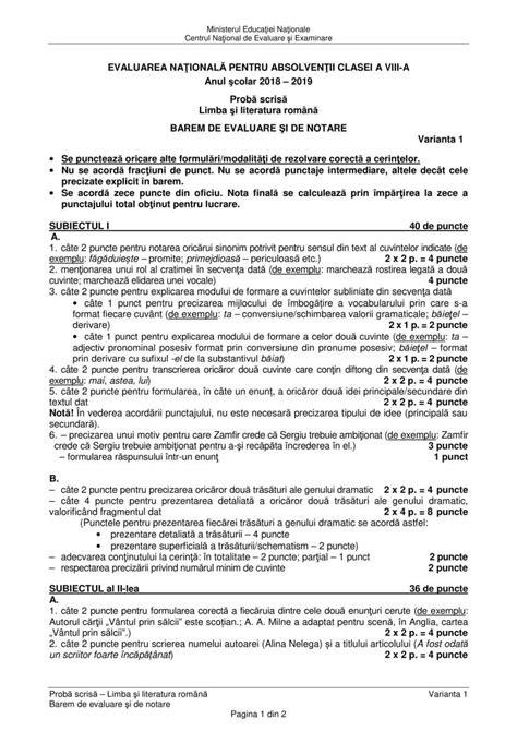evaluarea nationala  limba romana din  subiecte oficiale  barem eduro clasa
