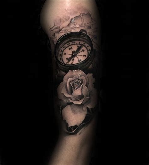 masculine rose tattoo natuical map with compass and realistic white