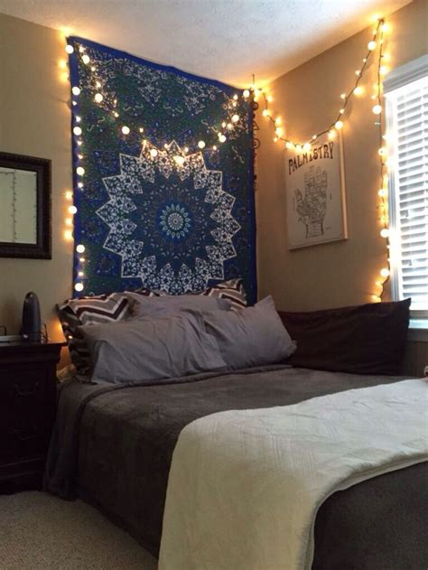 tapestry  firefly lights  room boho bedroom