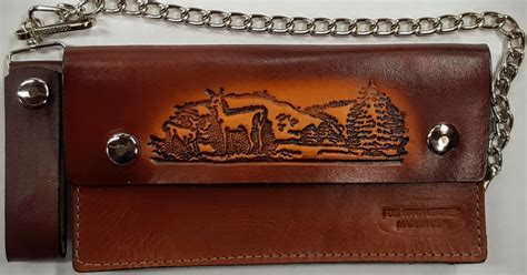 Deer Wallet deer embossed leather wallet with chain leather belts usa