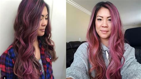 tween pink highlights curly hair dusty pink rose pastel hair color how to foilage