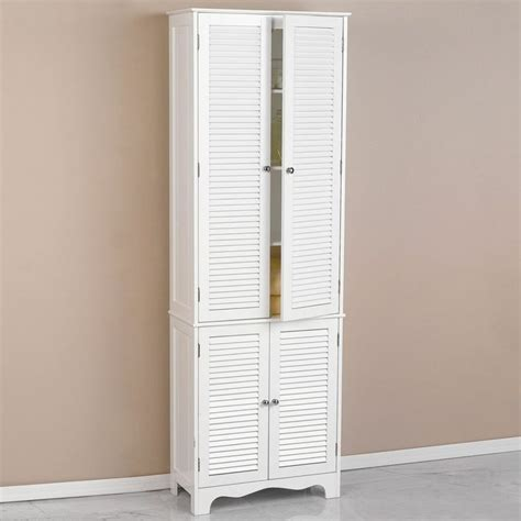 white linen cabinet home bathroom decor storage cupboard