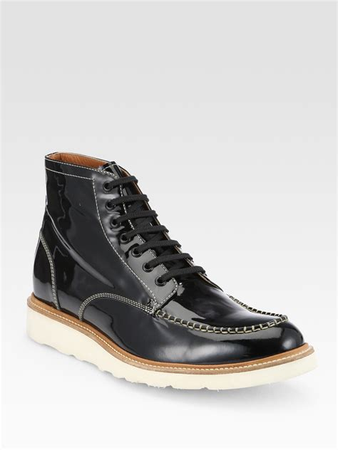mens patent leather boots dsquared2 patent leather lace up boots in black for