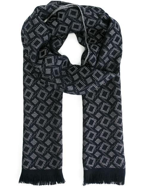 blue pattern scarf giorgio armani geometric pattern scarf in blue for men lyst