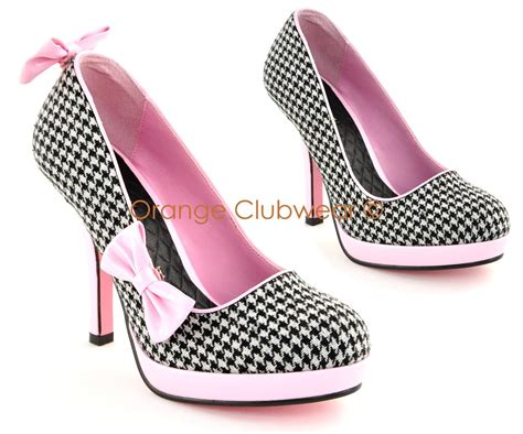 houndstooth high heels pinup womens retro fashion houndstooth bow clip high heels