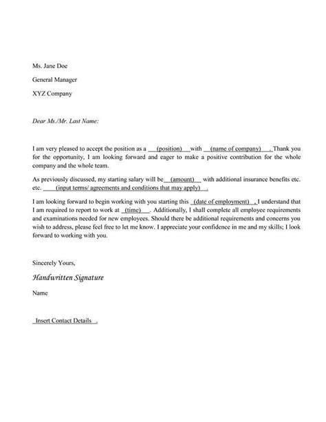 How To Write A Offer Acceptance Letter acceptance letter offer acceptance sle letter