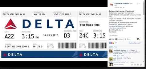 Delta Ticket Giveaway - watch out for live fake facebook giveaway scams thatsnonsense com