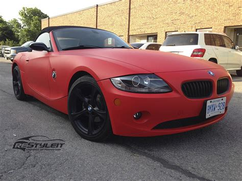 matte red bmw matte red bmw z4 vinyl car wrap car wraps in toronto
