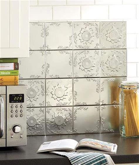 Adhesive Backsplash Tiles For Kitchen | 16 piece self adhesive embossed raised pattern tin wall