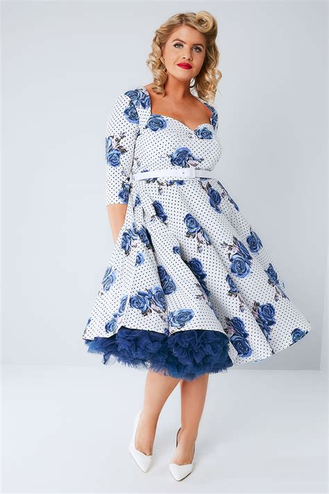hell bunny white blue dotty dress with waist belt