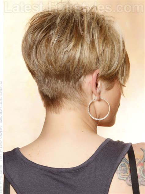 picture of womand hair tapered in back short blonde wispy pixie sculpted back the almost