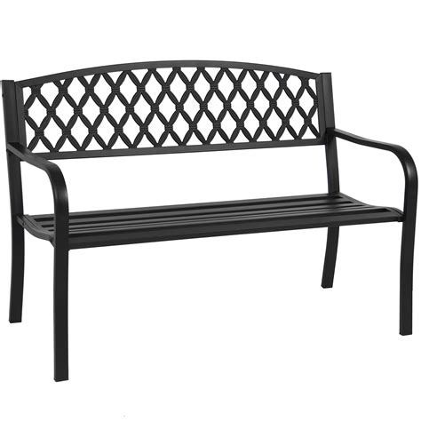 outdoor steel benches bcp 50 quot patio garden bench park yard outdoor furniture steel frame porch chair at