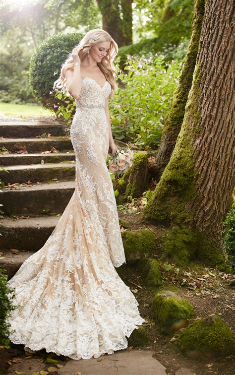 wedding gowns nude lace strapless wedding dress