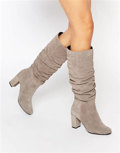 oasis slouch block heel boots in gray lyst