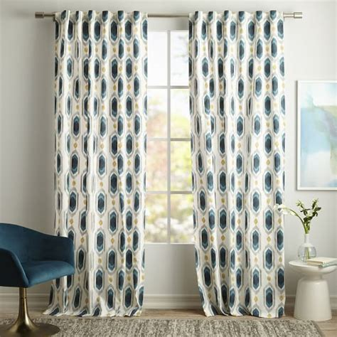 Cotton Canvas Ikat Gem Curtain   Blue Teal   west elm