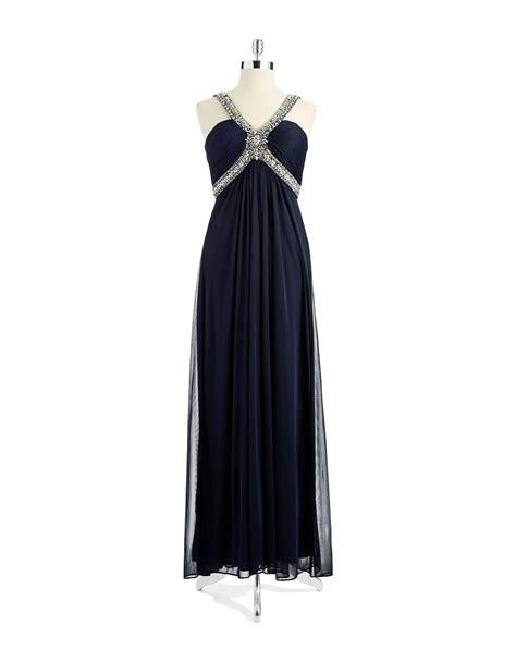 xscape beaded halter gown xscape beaded halter gown in blue navy lyst