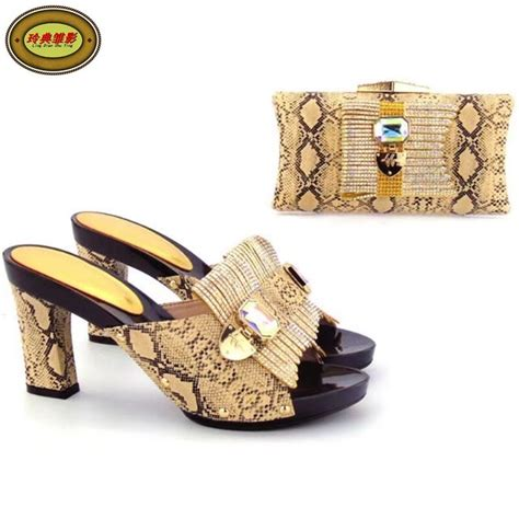 Yh16 Gold High Class Elegant Party Shoes With Bag Set With