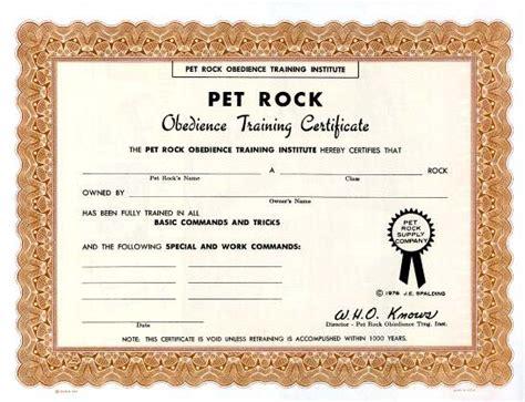 Pet Rock Obedience Training Certificate   1976