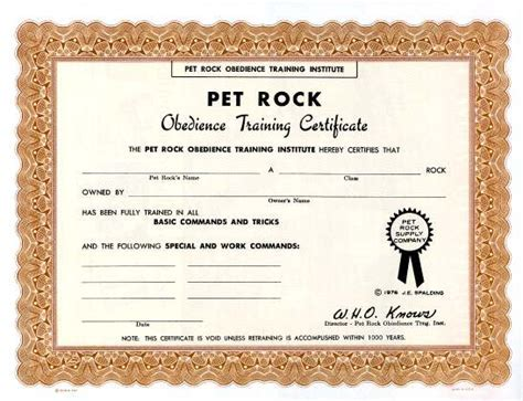 Pet birth certificate template birth certificate template 31 pet rock obedience training certificate 1976 yadclub Image collections
