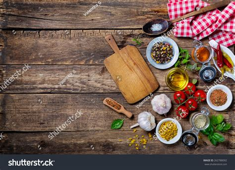 cooking board ingredients cooking empty cutting board on stock photo 262788092