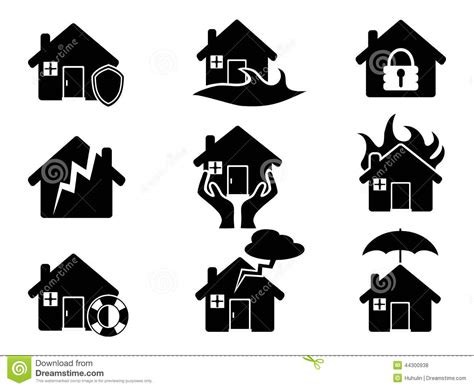 www house insurance property insurance icons set stock vector image 44300938