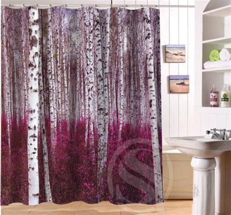 custom size shower curtains birch forest personalized custom shower curtain bath